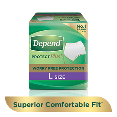 Depend protect plus+ absorbent pants for incontinence and bladder leakage, with a 'buy now' button and 'learn more' link