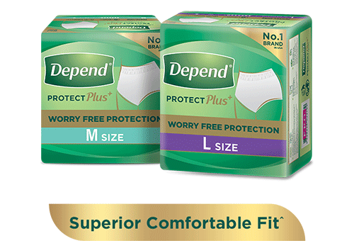 Depend protection plus+ absorbent diaper pants for leakage protection with 'Free Sample' and 'buy now' buttons.