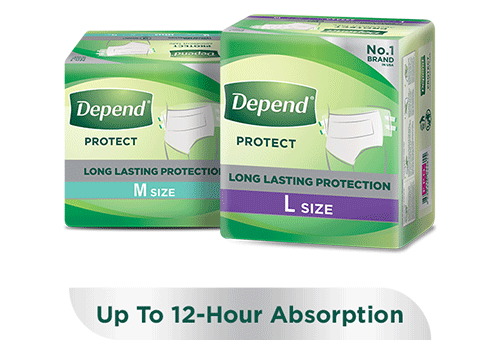 Depend protect absorbent tape diaper for heavy loss of bladder control